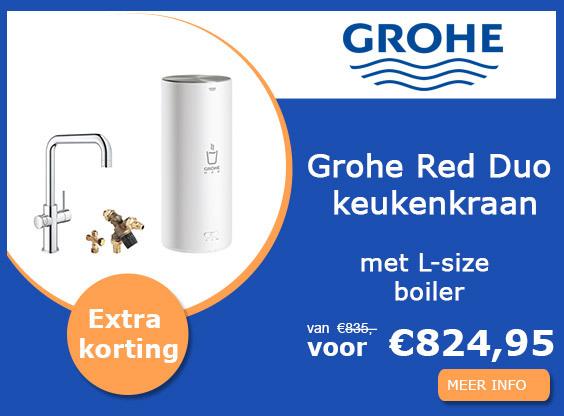 Grohe Red Duo keukenkraan U-uitloop chroom met L-size boiler actie