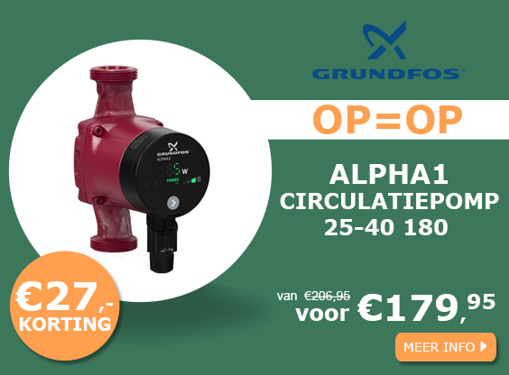 Grundfos ALPHA1 25-40 180 230v circulatiepomp actie