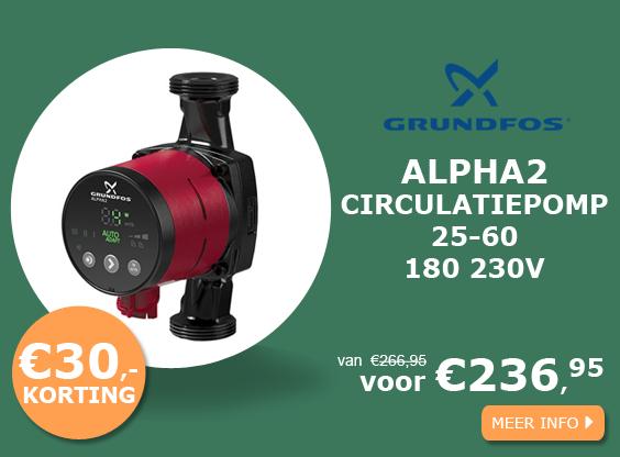 Grundfos ALPHA2 25-60 180 230v circulatiepomp actie
