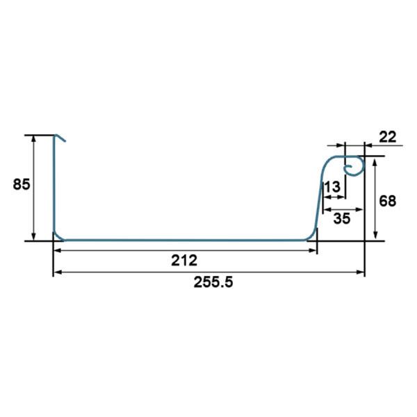 Zinken dakgoot - rechthoekige bakgoot B44 - lengte 3 meter