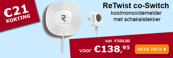 ReTwist co-Switch koolmonoxidemelder met schakelstekker