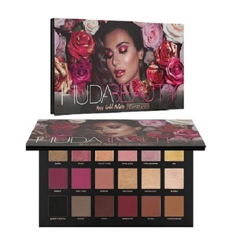 Hudabeauty luxury eyshadow palette Rose Gold roze effecten